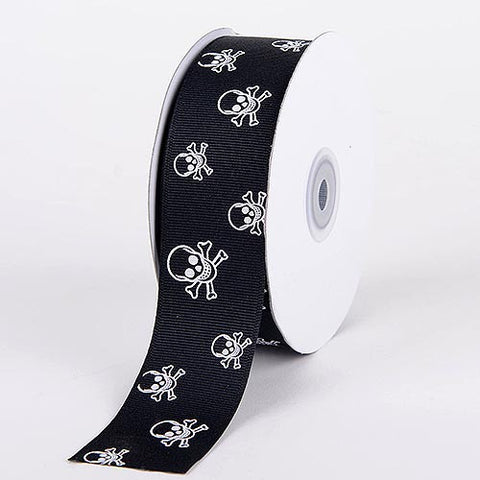 Grosgrain Ribbon Skull Design Black with Clear White Skull ( 1-1/2 inch | 25 Yards ) -