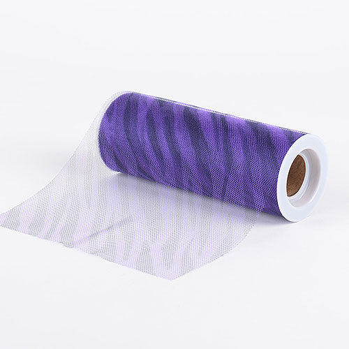 Zebra Purple Animal Printed Tulle Roll ( W: 6 inch | L: 10 Yards ) -