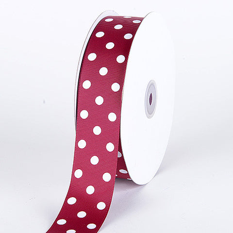 Grosgrain Ribbon Polka Dot Burgundy with White Dots ( W: 3/8 inch | L: 50 Yards ) -