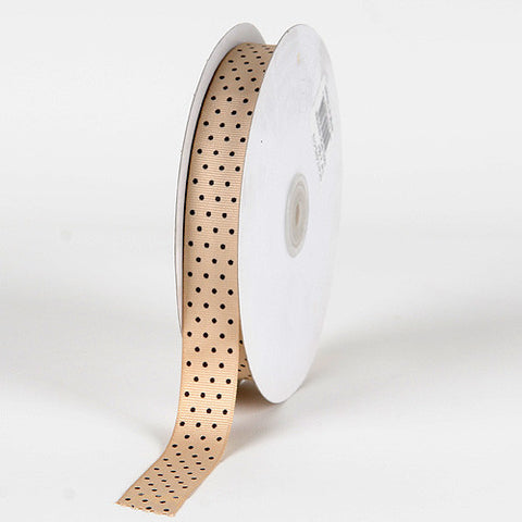 Grosgrain Ribbon Swiss Dot Turftan with Brown Dots ( 5/8 inch | 50 Yards ) -