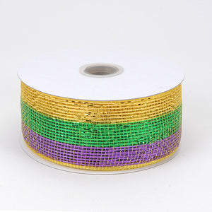 Metallic Deco Mesh Ribbons Mardi Gras ( 2.5 inch x 25 yards ) -