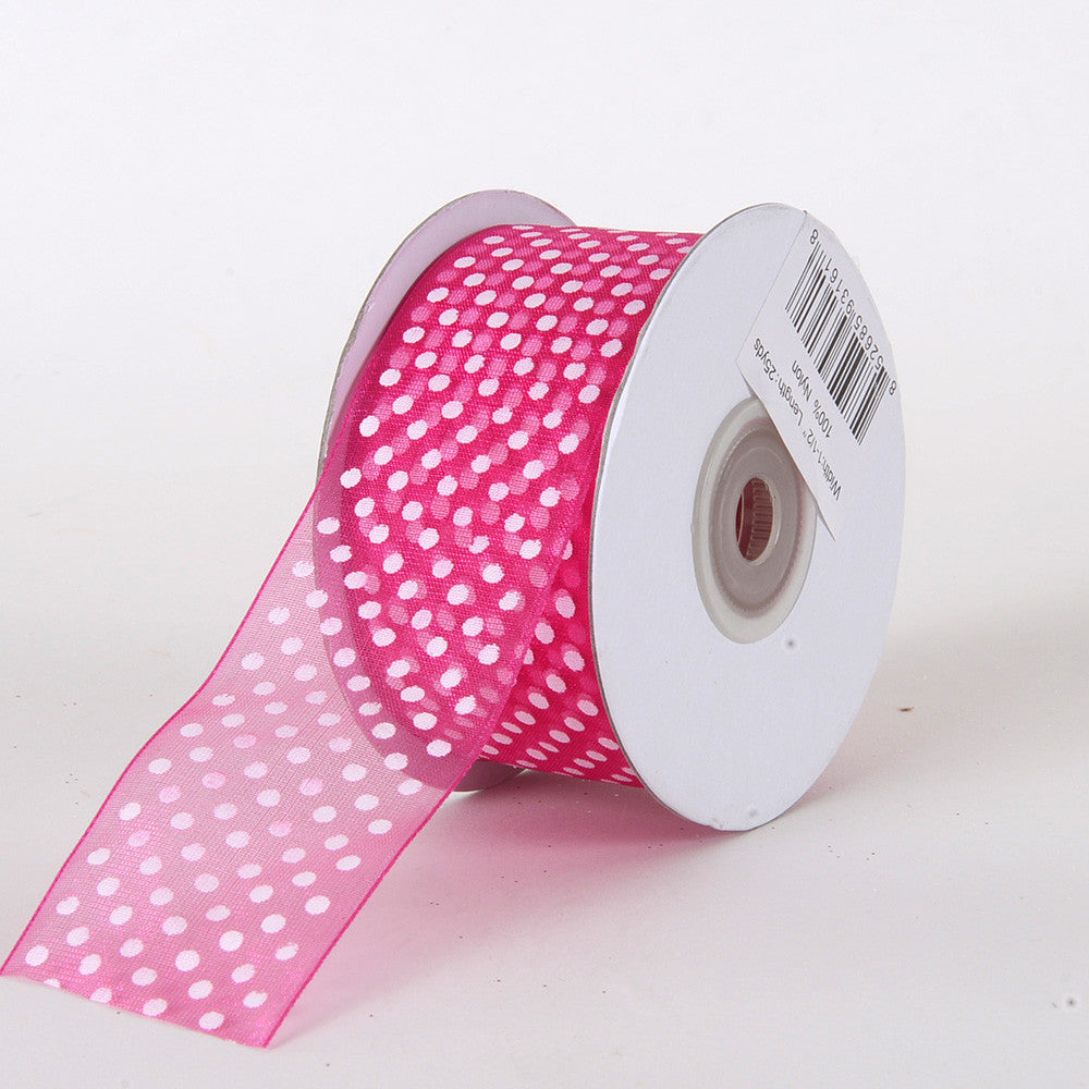Organza Swiss Dots Ribbon Fuchsia ( W: 3/8 inch | L: 25 Yards ) -