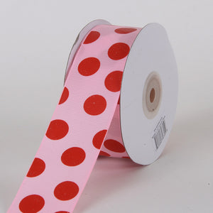 Grosgrain Ribbon Jumbo Dots Pink with Red Dots ( W: 1-1/2 inch | L: 25 Yards ) -