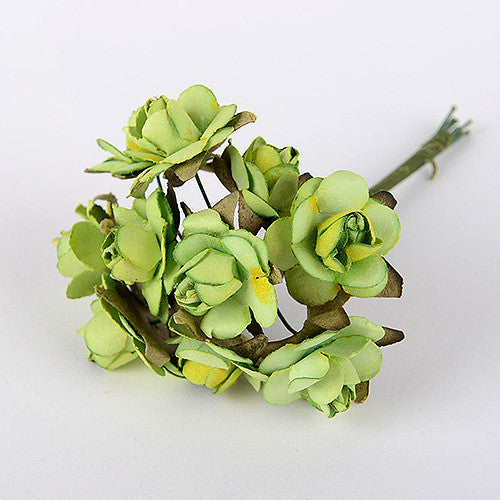 Paper Rose Flowers (10x12) Apple Green ( 12 Paper Flowers )
