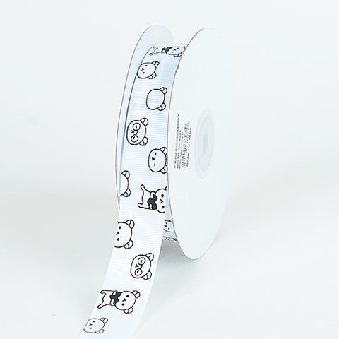 Grosgrain Ribbon Bear Print White ( W: 7/8 inch | L: 25 Yards ) -