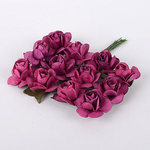 Paper Rose Flowers (10x12) Burgundy ( 12 Paper Flowers ) -