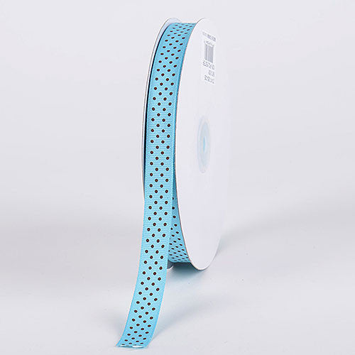 Grosgrain Ribbon Swiss Dot Turquoise with Brown Dots ( W: 3/8 inch | L: 50 Yards )
