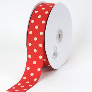Grosgrain Ribbon Polka Dot Red with Ivory Dots ( W: 3/8 inch | L: 50 Yards ) -