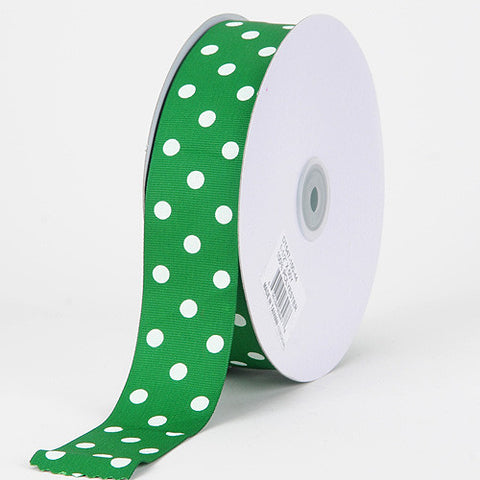 Grosgrain Ribbon Polka Dot Emerald with White Dots ( W: 3/8 inch | L: 50 Yards ) -