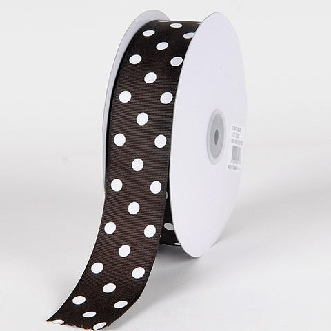 Grosgrain Ribbon Polka Dot Chocolate Brown with White Dots ( W: 3/8 inch | L: 50 Yards ) -