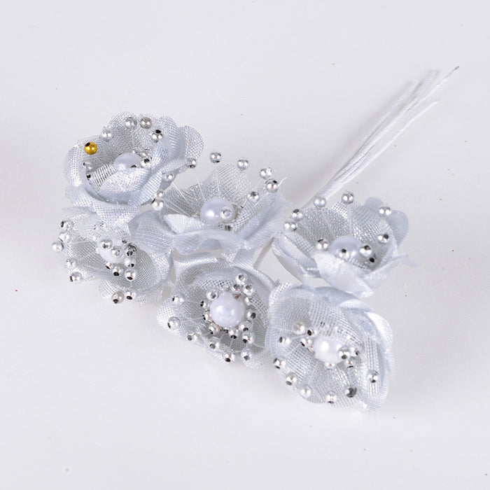 Organza Flowers with Pearl Beads (6x12) Silver ( 12 Mini Flowers )