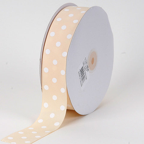 Grosgrain Ribbon Polka Dot Ivory with White Dots ( W: 3/8 inch | L: 50 Yards ) -