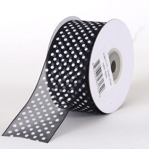 Organza Swiss Dots Ribbon Black ( W: 3/8 inch | L: 25 Yards ) -