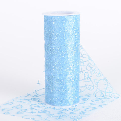 6 inch Glitter Hearts Organza Roll Light Blue ( W: 6 inch | L: 10 Yards ) - Ribbons Cheap