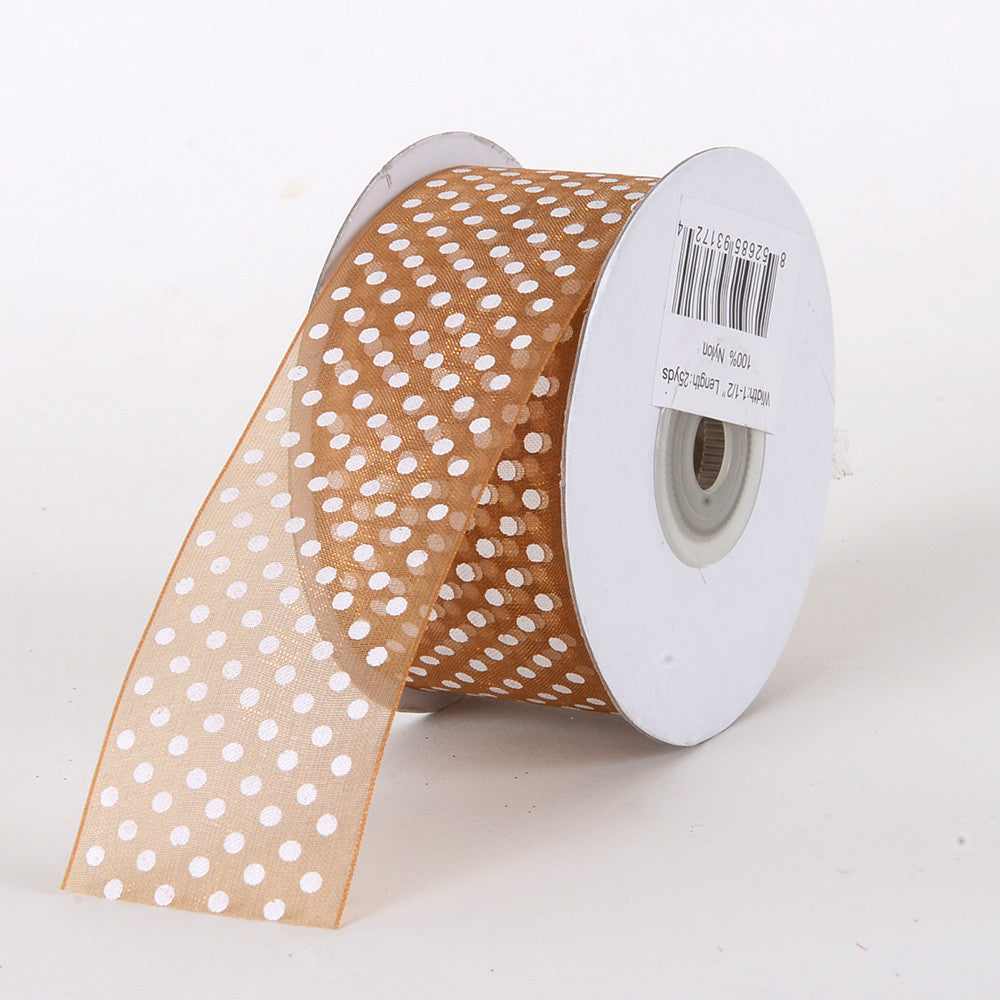 Organza Swiss Dots Ribbon Old Gold ( W: 3/8 inch | L: 25 Yards ) -