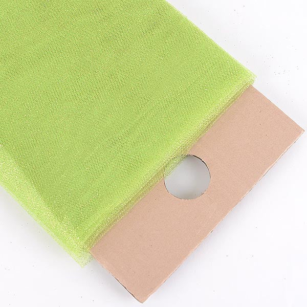 Apple Green Premium Glitter Tulle Fabric ( W: 6 inch | L: 25 Yards )