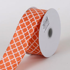 Satin Quatrefoil Print Ribbon Orange ( W: 1-1/2 inch | L: 10 Yards ) -