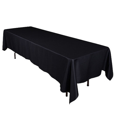 Black  90 x 132 Rectangle Tablecloths  ( 90 inch x 132 inch )- Ribbons Cheap