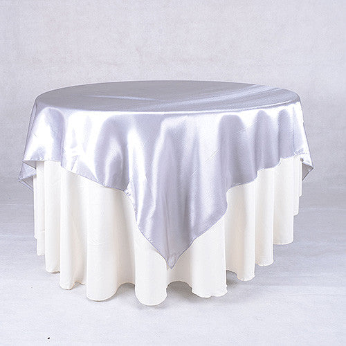Silver  60 x 60 Satin Table Overlays  ( 60 x 60 Inch )- Ribbons Cheap