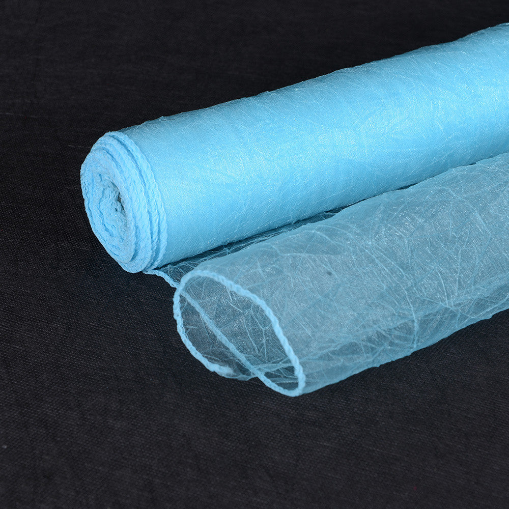 Light Blue  Premium Crinkle Organza Overlays  ( W: 24 inch | L: 10 Yards )- Ribbons Cheap