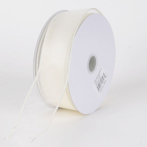 Organza Ribbon Thick Wire Edge 25 Yards Ivory ( W: 1-1/2 inch | L: 25 Yards ) -