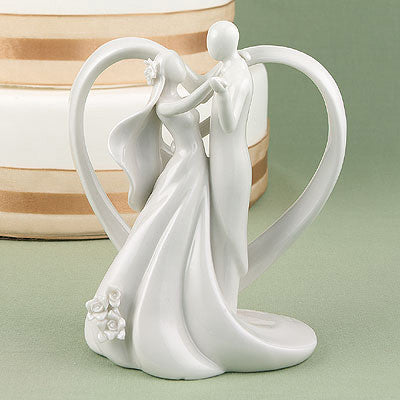 "Wedding Cake Toppers Heart Arch Bridal Couple Figurine ( 6"" tall ) -"