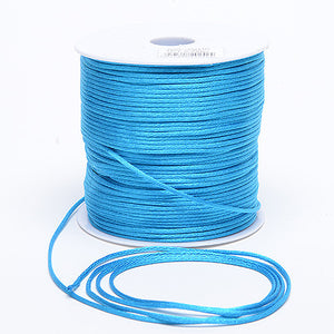 2mm Satin Rat Tail Cord Turquoise ( 2mm x 100 Yards ) - Ribbons Cheap