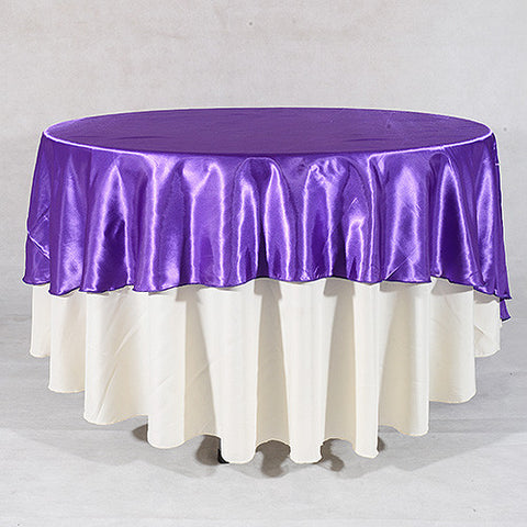Purple  108 Inch Satin Round Tablecloths  ( 108 inch | Round )- Ribbons Cheap
