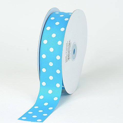 Grosgrain Ribbon Polka Dot Turquoise with White Dots ( W: 3/8 inch | L: 50 Yards ) -