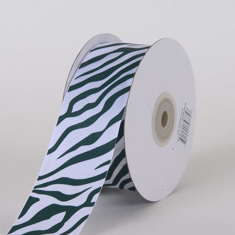 Grosgrain Ribbon Animal Print Hunter Green ( W: 5/8 inch | L: 25 Yards ) -