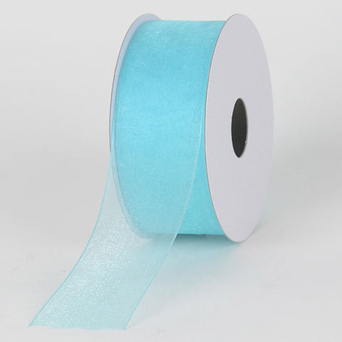 Sheer Organza Ribbon Aqua Blue ( W: 3/8 inch | L: 25 Yards ) -