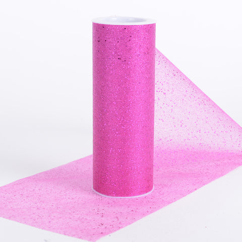 6 Inch Confetti Organza Roll Fuchsia ( W: 6 inch | L: 10 yards ) - Ribbons Cheap