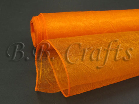 Orange  Premium Crinkle Organza Overlays  ( W: 24 inch | L: 10 Yards )- Ribbons Cheap