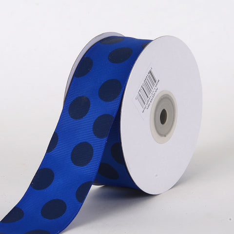 Grosgrain Ribbon Jumbo Dots Royal with Navy Dots ( W: 1-1/2 inch | L: 25 Yards ) -