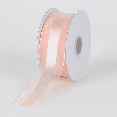 Organza Ribbon Satin Center Peach ( W: 5/8 inch | L: 25 Yards ) -