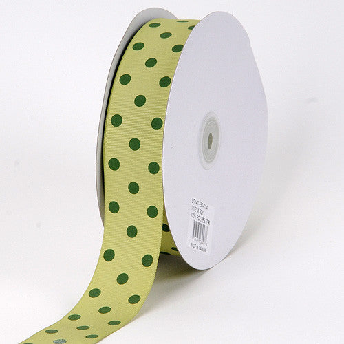 Grosgrain Ribbon Polka Dot Pear with Willow Dots ( W: 3/8 inch | L: 50 Yards ) -