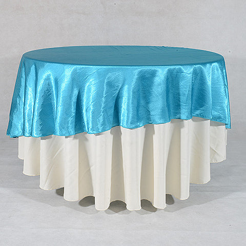 "Turquoise  70"" Satin Round Tablecloths  ( 70 Inch )- Ribbons Cheap"