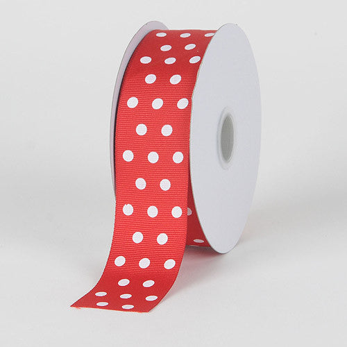 Grosgrain Ribbon Color Dots Red with White Dots ( W: 5/8 inch | L: 25 Yards ) -