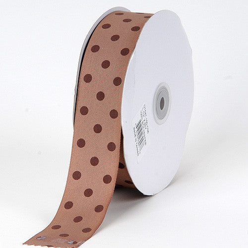 Grosgrain Ribbon Polka Dot Turftan with Brown Dots ( W: 3/8 inch | L: 50 Yards ) -