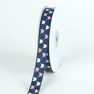 Grosgrain Ribbon Plaid Sweetheart Print Navy Blue ( W: 3/8 inch | L: 25 Yards ) -