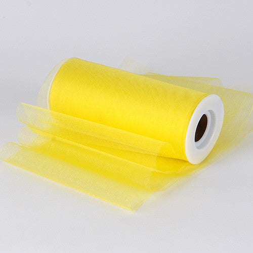 Organza Fabric 6 inch Yellow ( W: 6 inch | L: 25 Yards )