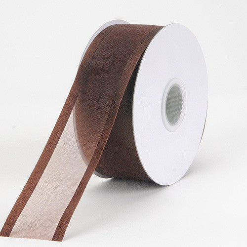 Organza Ribbon Two Striped Satin Edge Chocolate Brown ( W: 3/8 inch | L: 25 Yards ) -