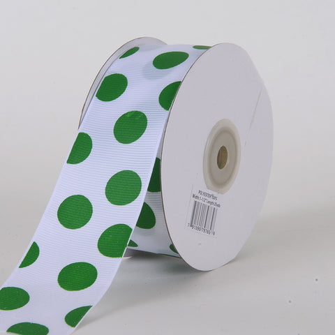 Grosgrain Ribbon Jumbo Dots White with Emerald Dots ( W: 1-1/2 inch | L: 25 Yards ) -