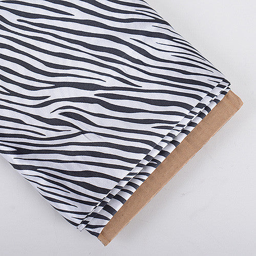 Animal Printed Satin Fabrics White ( W: 58 inch | L: 10 Yards ) - Ribbons Cheap