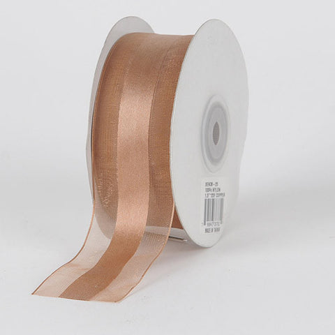Organza Ribbon Satin Center Tan ( W: 5/8 inch | L: 25 Yards ) -