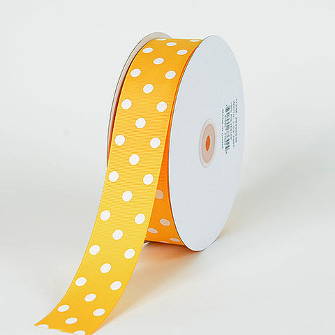 Grosgrain Ribbon Polka Dot Light Gold with White Dots ( W: 3/8 inch | L: 50 Yards ) -