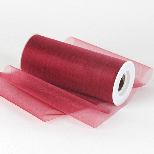 Organza Fabric 6 inch Burgundy ( W: 6 inch | L: 25 Yards )