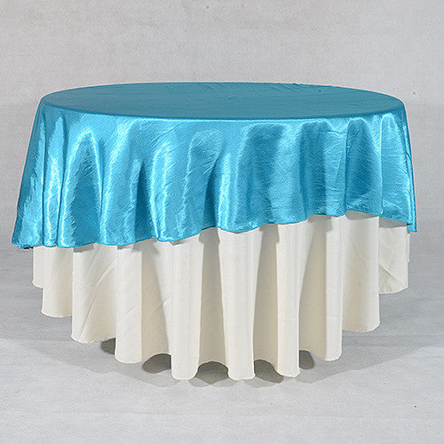 Turquoise  90 Inch Satin Round Tablecloths- Ribbons Cheap