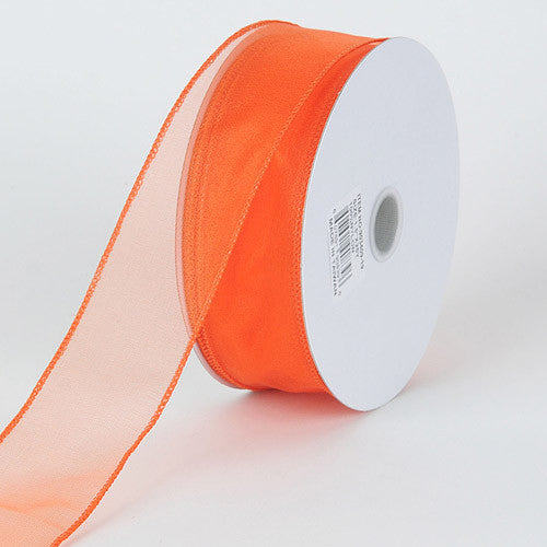 Organza Ribbon Thick Wire Edge 25 Yards Orange ( W: 1-1/2 inch | L: 25 Yards ) -