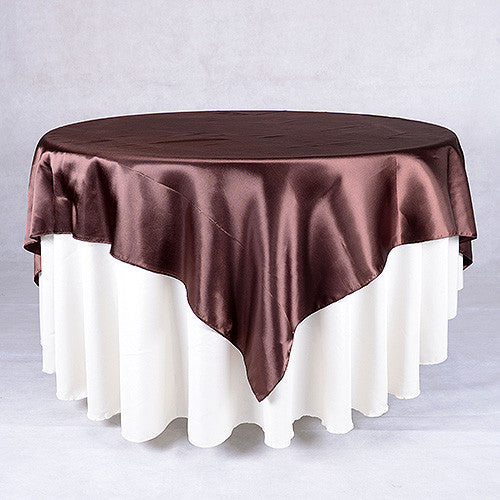 Chocolate  60 x 60 Satin Table Overlays  ( 60 x 60 Inch )- Ribbons Cheap